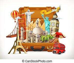 観光客, イラスト, 旅行, 魅力, ベクトル, スーツケース, 3d