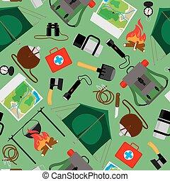 観光客, キャンプ, キャンプ, pattern., seamless, ベクトル, 森林, 背景