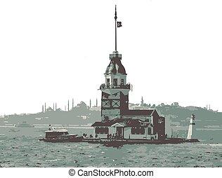 観光客, タワー, maiden's, アイコン, イスタンブール