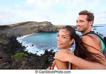 観光客, ハイキング, ハイキング, 旅行, -, ハワイ, 恋人