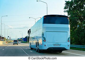 観光客, バス, ポーランド, ハイウェー, 白, 道
