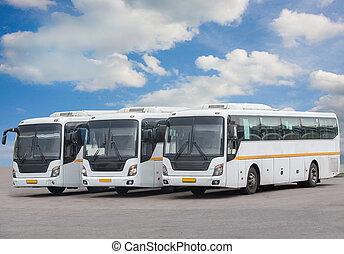 観光客, バス, 上に, 駐車