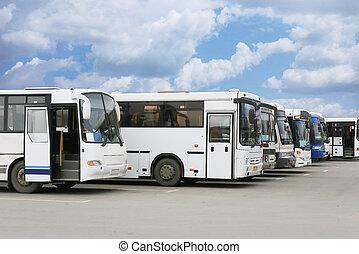 観光客, バス, 駐車