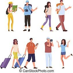 観光客, ベクトル, 特徴, set., 女, キャンパー, 人々, 隔離された, デザイン, イラスト, 平ら, グラフィック, 人