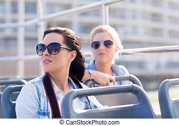 観光客, 上に, ∥, 開いているトップ, バス