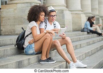 観光客, 使うこと, 地図, モデル, 丘, 恋人
