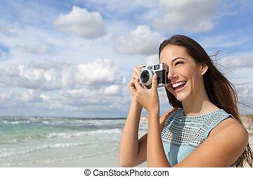 観光客, 写真, 取得, ホリデー, カメラマン, 女の子