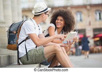 観光客, 地図, 相談, 恋人, 都市