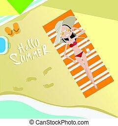 観光客, 女, ビーチの上に横たわる, 上, 角度, 光景, こんにちは, 夏 休暇, トロピカル, 海岸, 海洋