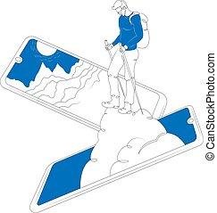 観光客, 山, smartphone, スクリーン, バックパック, 上昇