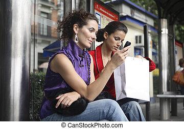 観光客, 待つこと, a, バス