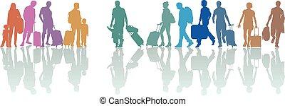 観光客, 手荷物, グループ