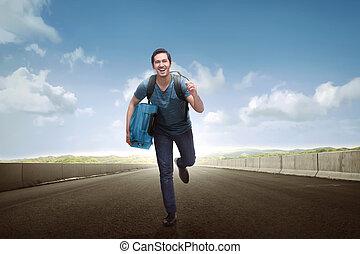 観光客, 手荷物, 動くこと, 届く, アジア 人, 幸せ