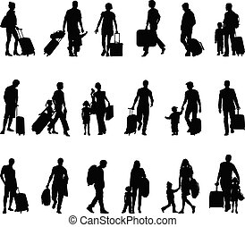 観光客, -, 旅行者, 人々, refugees, migrants