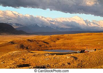 観光客, 自動車, 湖, altai, 有名, -road, 日没, プラトー, 光景, ロシア, ukok