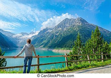 観光客, 若い, 高く, オーストリア, アルプス, ピークに達する
