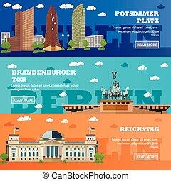 観光客, banners., ドイツ語, イラスト, 有名, ベルリン, ベクトル, ランドマーク, 建物。