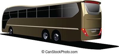 観光客, illustr, bus., ベクトル, coach.