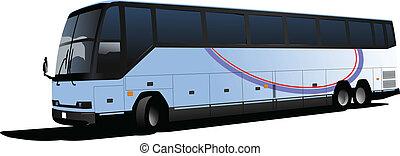 観光客, image., ベクトル, illustra, バス