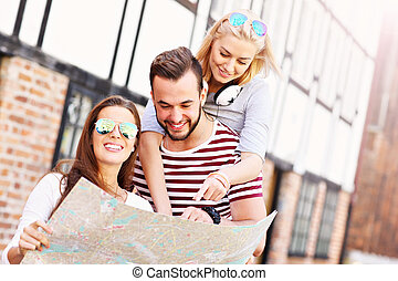 観光, 地図, 友人, グループ, 幸せ