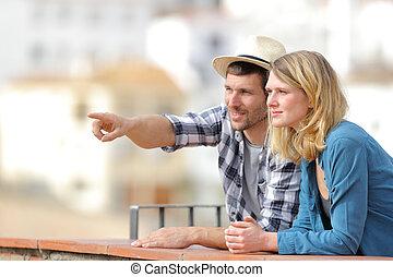 観光, 恋人, 指すこと, 地平線, 観光客