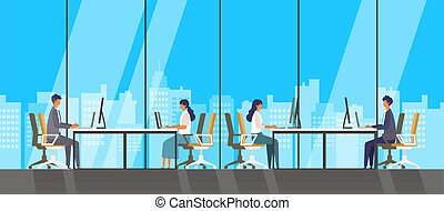 觀點。, 大, 辦公室, 現代, windows, 看法, 看, 插圖, 看見, 人們, 矢量, skyscrapers., 在外, 城市