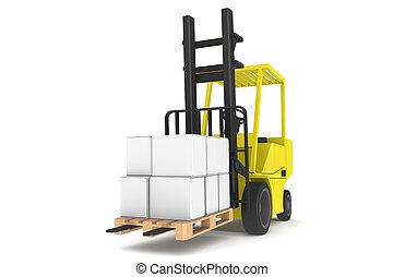 觀點。, 扁平工具, 鏟車, 藍色, series., 部份, 黃色, 倉庫, 前面