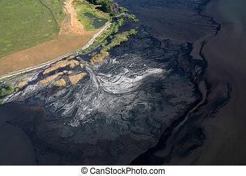 觀點。, 空中, 溪, pollution.