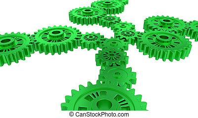 观点, 绿色, 齿轮, 若干, 边观点