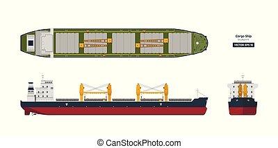 观点。, 顶端, 舰船, 图, style., 船, 工业的运输, tanker., 容器, 边, 蓝图, 背景。, 套间, 货物, 前面, 白色