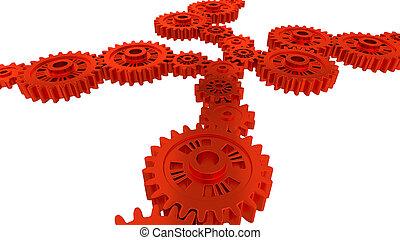观点, 齿轮, 若干, 边, 红, 察看
