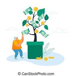 规划, 硬币, 女士, 套间, 矢量, 拿, 地面, 飞行, 现金, 树, 投资, 卡通漫画, businesswoman, 下来, 描述, 概念, banknotes, 落下, 金色, 钱, 收入, 成功, 美元, 商业