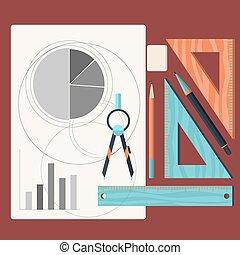 规划, 铅笔, 设计, 图, 图