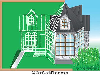 规划, 黑板, 绿色, 建筑
