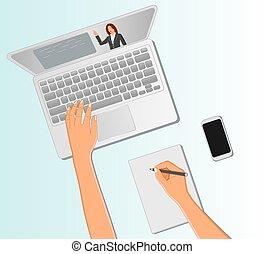 视频, 注意到, 学生, 顶端, 教师, 电话, 拿, 察看