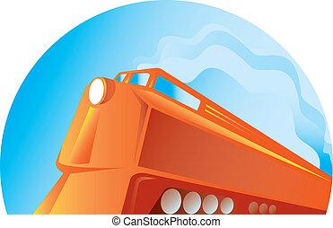 角度, ディーゼル, 列車, 低い, 見られた, レトロ