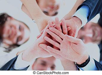 角度, 商务人士, 低, 小的组, 加入, 手, 察看