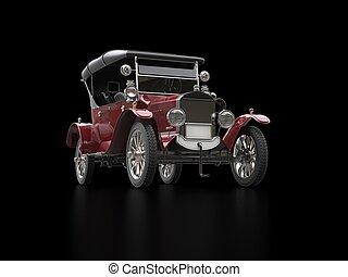 角度, 型, -, 暗い, 低い, 自動車, 打撃, 赤