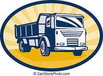角度, 堆存处, 堆存处卡车, 低, 背景, sunburst, 或者, 察看