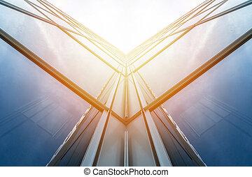 角度, 天空, 阳光, 摩天楼, 察看, 低