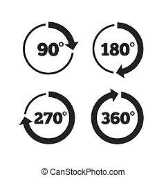 角度, 幾何学, icons., 程度, 数学, 円, signs.