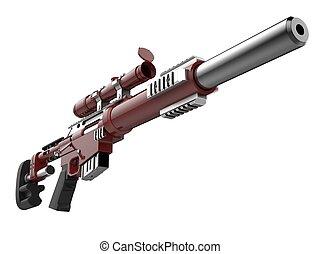 角度, 現代, -, 低い, ライフル銃, 深紅色, 打撃, 狙撃兵