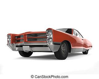 角度, 自動車, -, 暗い, 低い, 型, オレンジ, 打撃