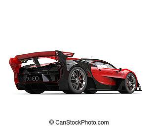 角度, 自動車, -, 背中, レース, 低い, 赤, 光景