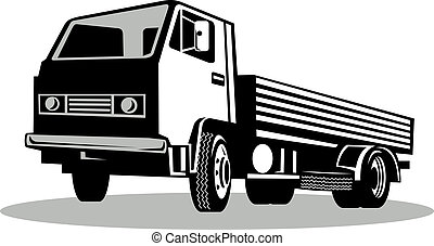角度, 隔离, 卡车, 低, 背景, 白色, 察看