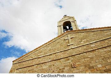 角度, 青, ファサド, 空, 低い, 教会