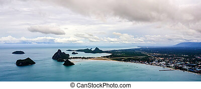 角度, 高く, 写真, 風景, 空中写真, 海岸, 浜