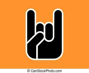 角, 印, gesture., 手
