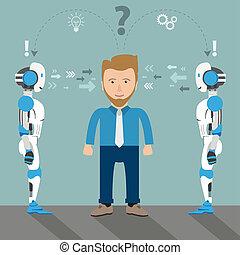 解决, 机器人, 2, 商人, 问题, 卡通漫画