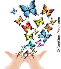 解放, 手, ベクトル, butterflies., イラスト